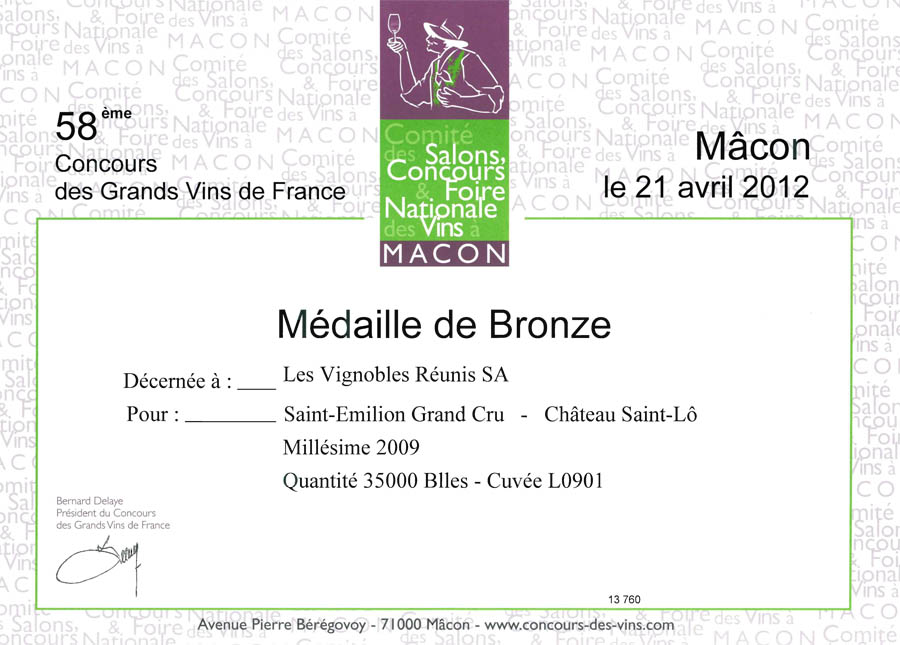 Ch teau saint l vins de saint milion m daille de for Garage macon saint lo